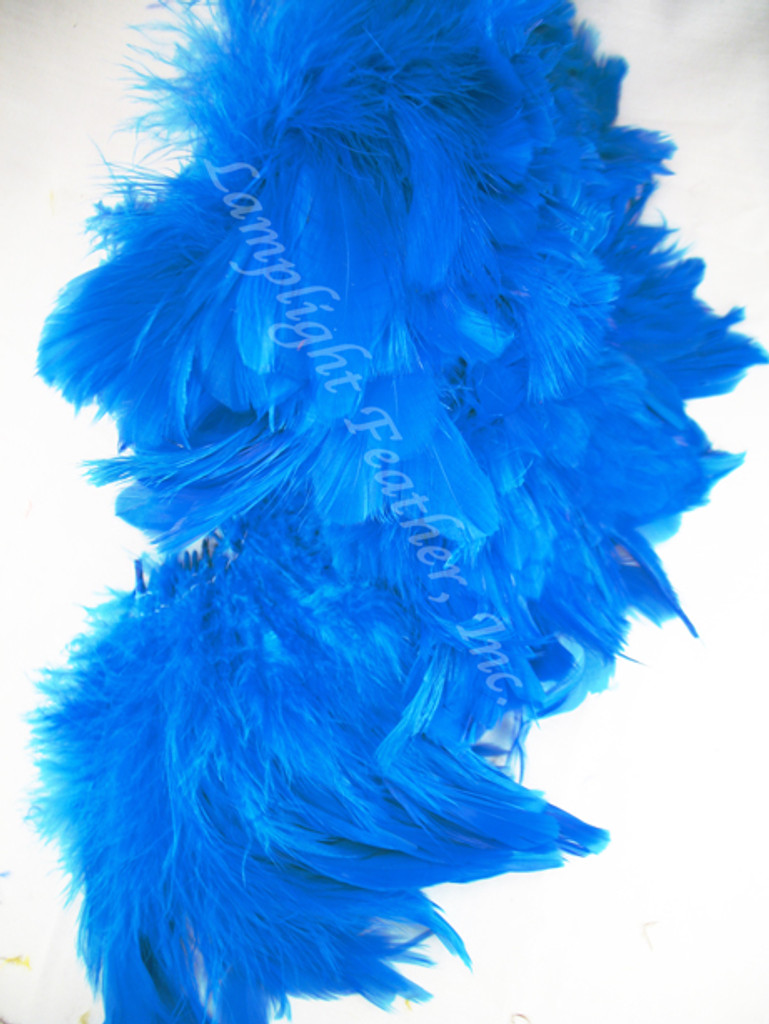 Rooster Feathers Schlappen, Turquoise, 3-5 inch, per FOOT