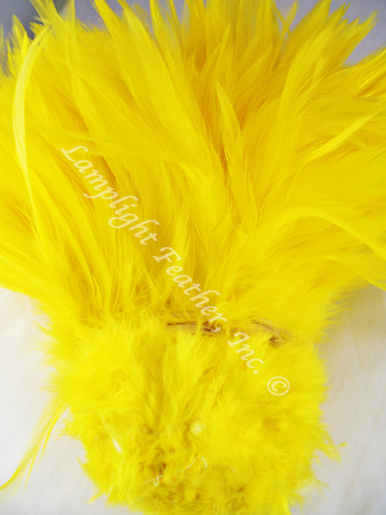 ROOSTER Saddle Feathers, strung, long, Yellow, per foot