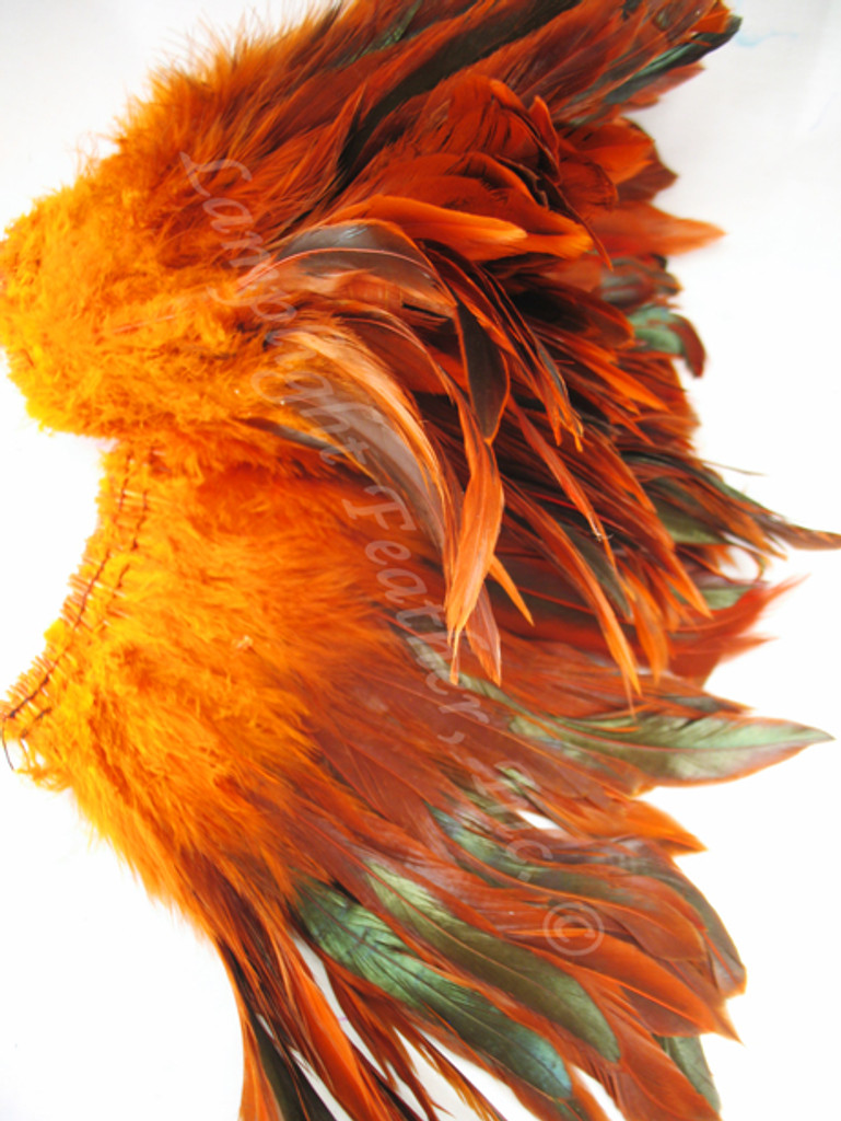 Rooster Feathers Schlappen, half bronze, dyed Orange, per FOOT