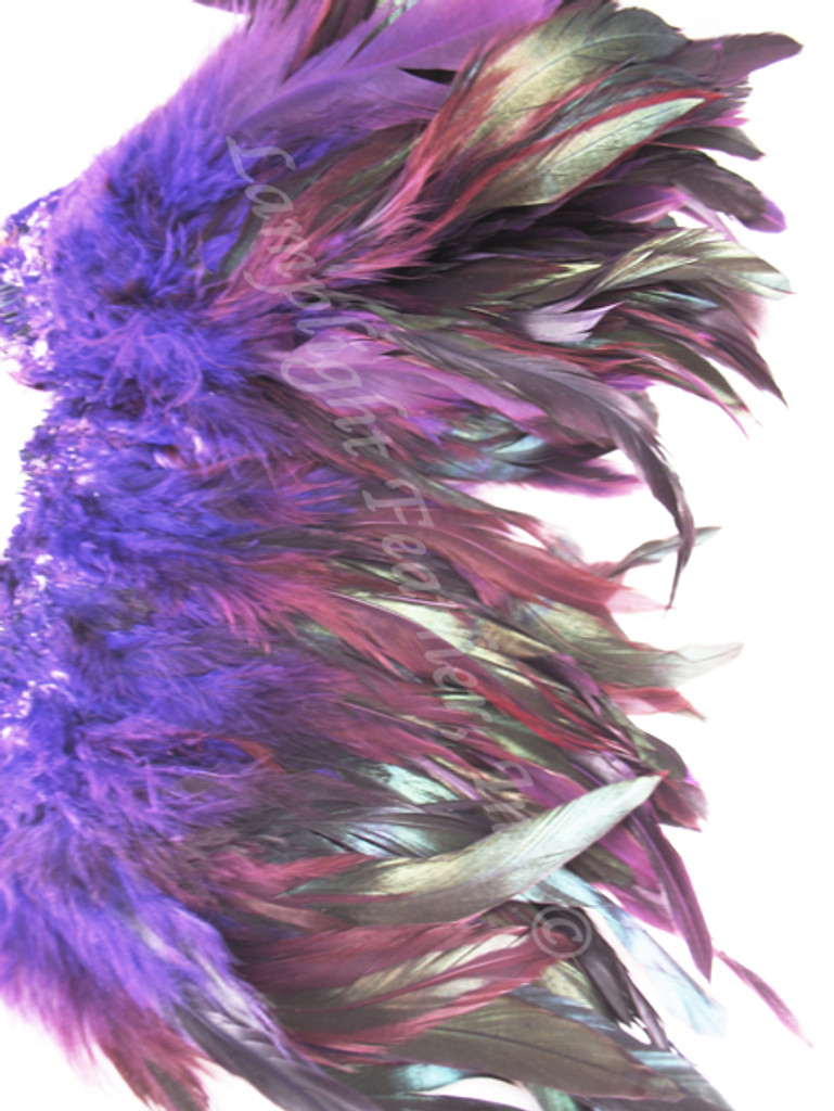Rooster Feathers Schlappen, half bronze, dyed Purple, per FOOT