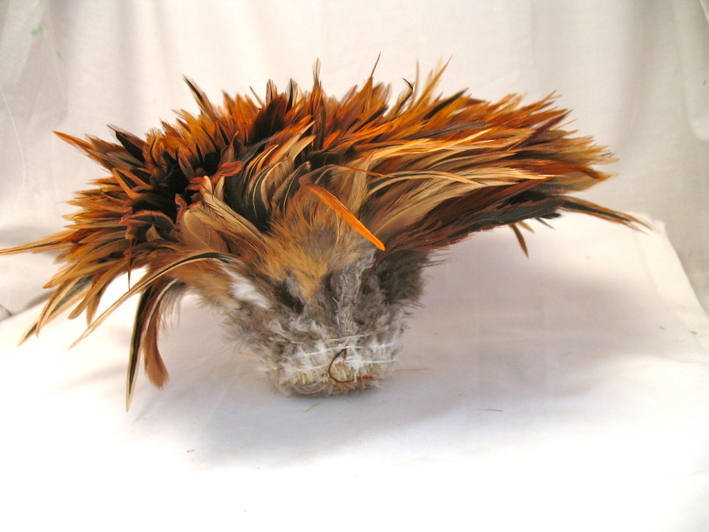 ROOSTER SADDLE Feathers, strung, Furnace Brown, per foot