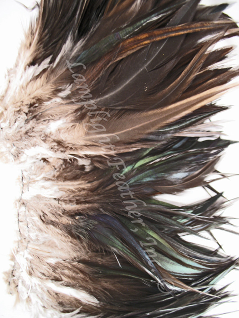 ROOSTER Saddle Feathers, strung, Natural Black, per foot