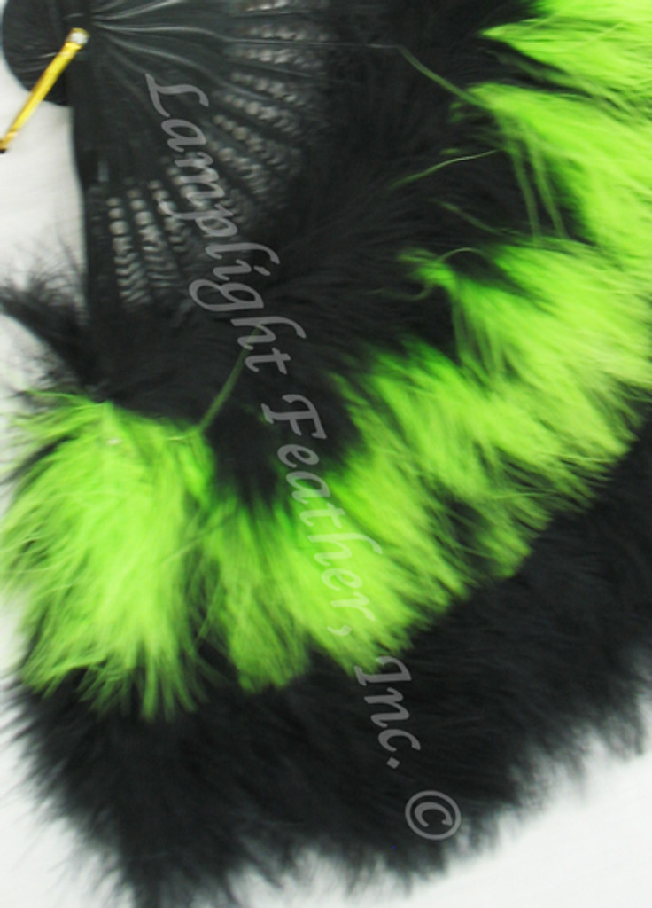 Feather Fan, Marabou, Black/lime MIX, per each