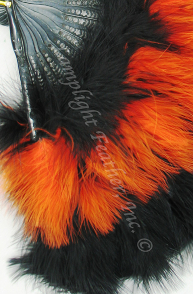 Feather Fan, Marabou, Black/Orange MIX, per each