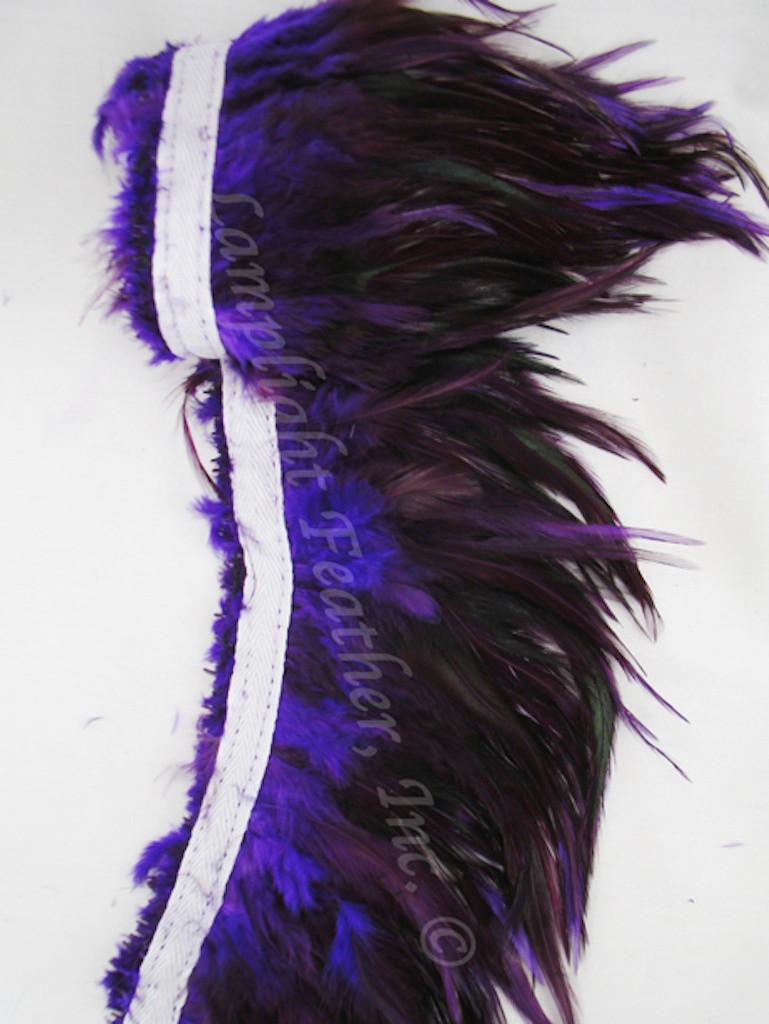 Feather Trim, SADDLE, Furnace dyed Purple, per yard
