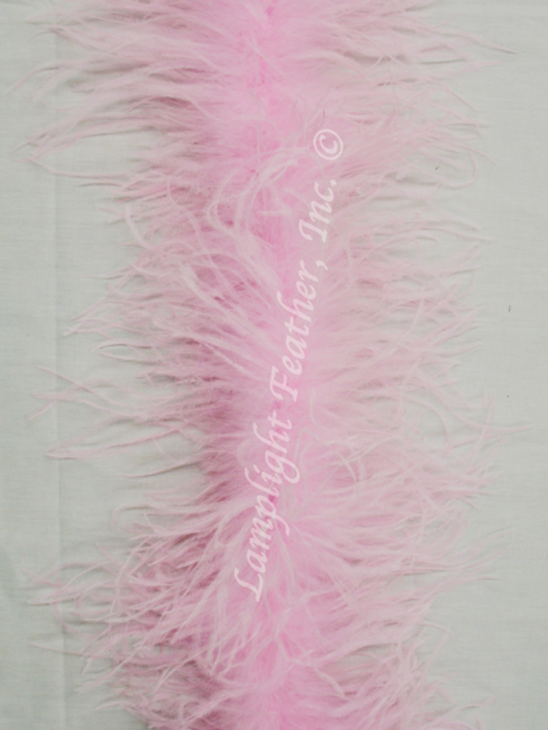 Light Pink Feather Boa, Ostrich 2 ply  Lamplight Feather.