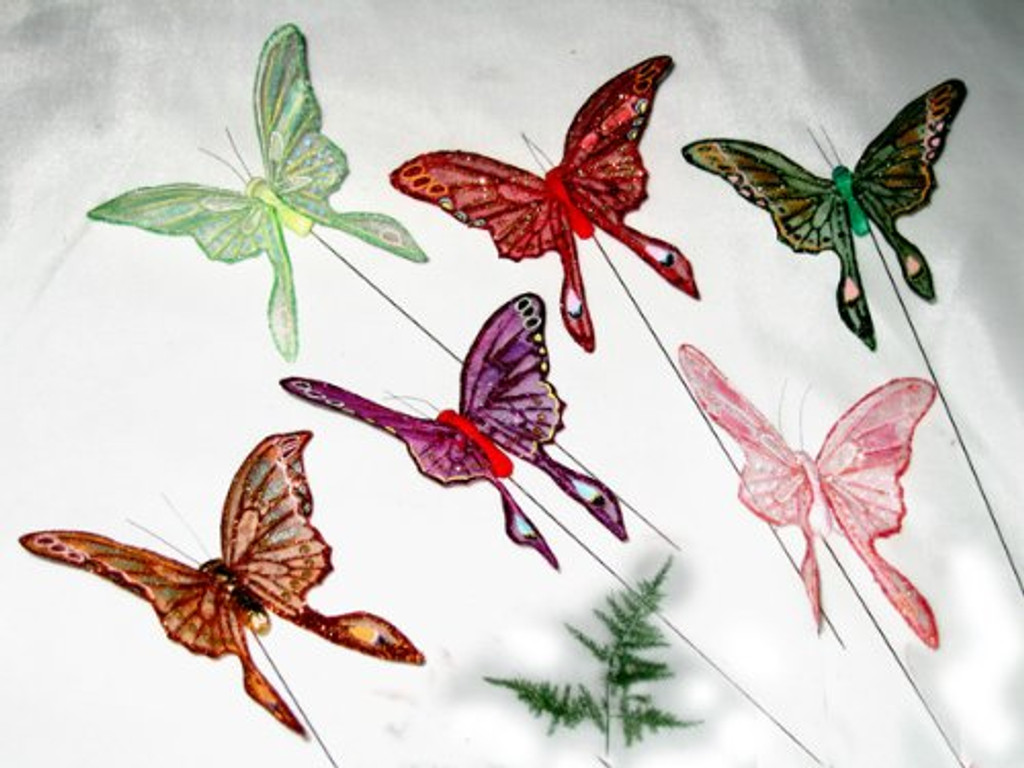 ARTIFICIAL BUTTERFLIES, swallowtail 4 inch, per dozen
