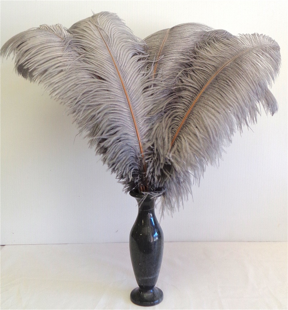 GRAY OSTRICH FEATHER, LONG, per each