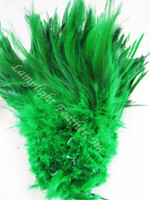 ROOSTER SADDLE Feathers, strung, GREEN, per foot
