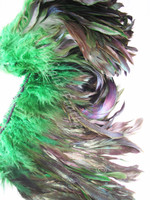 ROOSTER Schlappen Feathers half bronze dyed Green, per foot