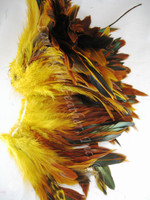 Rooster Feathers Schlappen, half bronze, dyed Yellow, per FOOT