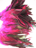ROOSTER Rooster Feathers Schlappenhalf bronze, dyed Hot Pink, per foot