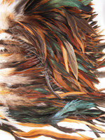 Rooster Feathers Schlappen, Natural, half bronze, per FOOT