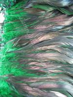 COQUE Feathers half bronze 7-10 inch,  GREEN, per YARD