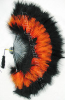 Feather Fan Marabou Orange and Black