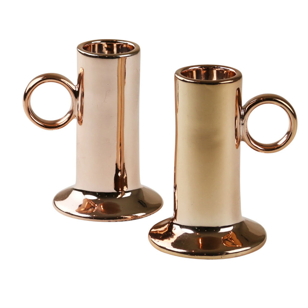 Robert Gordon   Candle Holders (pair)   Copper And Ceramic Collection Copper  Glazed On