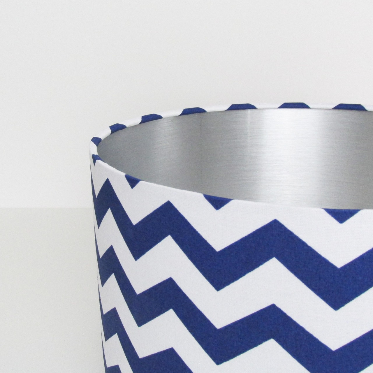 Blue and Silver Chevrons Lampshade Zig Zags