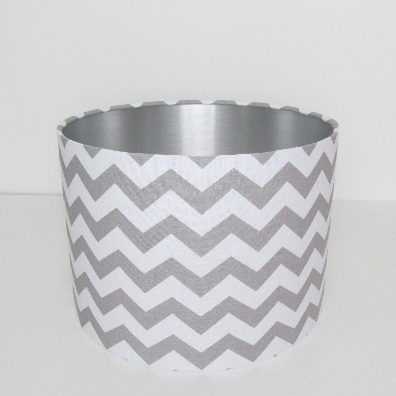 Grey Chevrons and Silver Lampshade