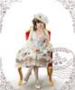 Model Show (White + Light Blue Ver.) (choker: AD00572, dress: DR00171, blouse: TP00142, fan: P00580, leggings: P00419)