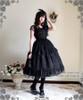 Model Show (Black Ver.) (choker: AD00606, dress set: DR00178L, wristlet: AD00609, fan: P00580, birdcage petticoat: UN00019L, leggings: P00182)