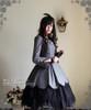 Model Show (Grey Ver.) (hair dress: P00607, choker: AD00606, dress set: DR00178L, wristlet: AD00609, fan: P00580, birdcage petticoat: UN00019L)
