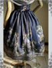 Last Chance: Vintage Midi Dress Printed A Line Dress Skirt Piece Petticoat Choker Set Blue Mint