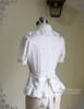Last Chance: Vintage Short Sleeve Shirt Blouse Jabot Set Retro Fashion White Black Grey