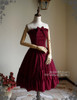 Vintage Corset Dress Strapless Dress Jabot Cravat Corsage Set Burgundy