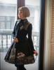 Vintage Midi Dress Bottoming Long Sleeves Finger Loop Black Ivory