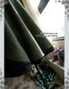 Last Chance: Steampunk A Line Skirt Midi Skirt Fur Trim Uniform Skirt Khaki Green