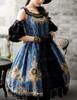 Lolita Fashion Ball Dress Chic Rococo Off the Shoulder Gold Print Dress *burgundy,moon night blue,black,mint
