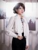 Steampunk Loose Shirt Blouse Top Jabot Set Retro Fashion White Black Blue