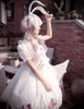 Last Chance: Lolita Midi Ball Dress Summer Sleeveless Dress Headdress Set White Black Dark Blue