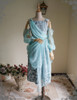 Front View when Skirt Piece tied on waist (Pale Blue + Mint Blue Chiffon Ver.)