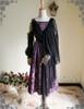 Front View when Skirt Piece worn as single shoulder mantle (Pale Purple + Black Chiffon Ver.)