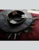 Vintage Elegant Handmade Hat Fleur de lis Print Cartwheel Black Hat