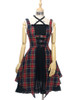 Front View w/o Sleeves (dark blue & red plaid brushed cotton + black crepe cotton ver.) (birdcage petticoat: UN00027)