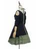 Side View (black jacquard cotton + sage green crepe cotton ver.) (birdcage petticoat: UN00027)