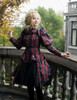 Model Show (dark blue & red plaid brushed cotton + black crepe cotton ver.) Jacket & Puff Sleeves Shrug 2pcs Set CT00276