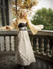 Corset Maxi Ball Dress, Gothic Vintage Empire Waist Regency Dress ivory/black