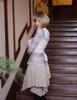 Steampunk Dress Shirt Vintage Print Top Long Blouse Stripes