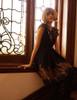 Gothic Flare Dress Gold Print Black Capelet Dress +Handmade Choker Exclusive