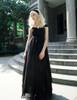 Gothic Retro Black Dress Summer Maxi Dress Draped Chiffon Evening Dress with Headband
