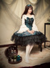 Vintage Lolita Fashion Long Sleeves Top Black White Hime Cuffs Blouse