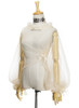 Front View of Tulle Blouse (Light Ivory for White + Gold & Dark Green + Gold Versions)