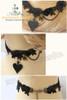 Punk Spade & Spider Pendants Lace Choker*Black