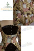 khaki dress + ivory&black stripes skirt, corset in photo (sell separately): Y00008