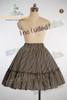 khaki dress + ivory&black stripes skirt