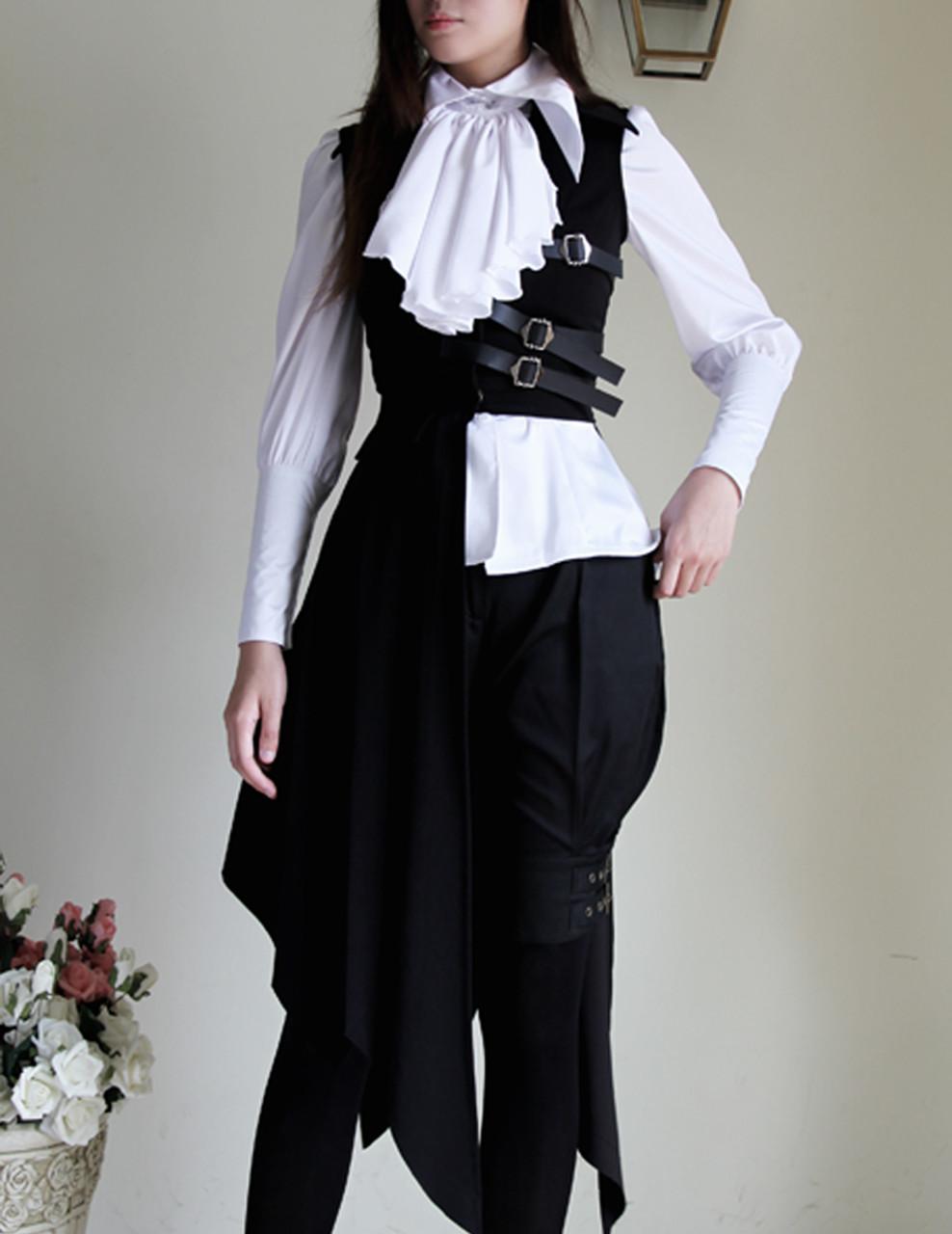 Pirate Gothic Pleated Bias Bottom Long Unisex Vest rNpUKLl