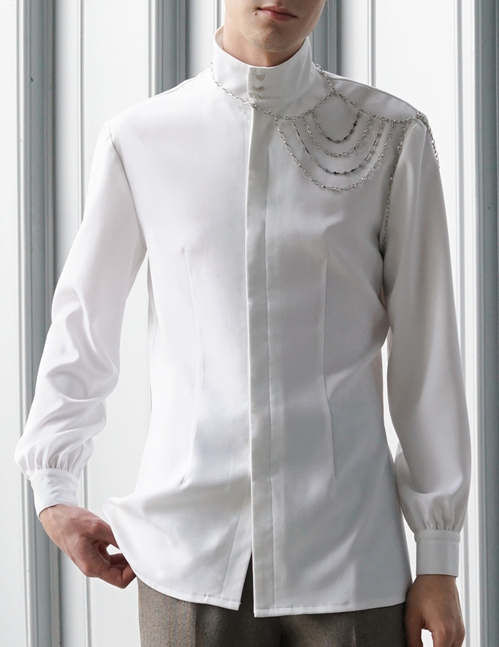 Elegant Gothic Dandy Ouji Stand Collar Unisex Shirt & Handmade Shoulder Chain V6WG37WFy